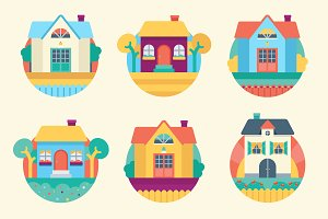 9 garden houses flat icons