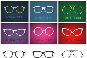Vector group of glasses design.