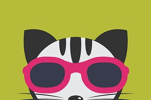 Cat wearing glasses.