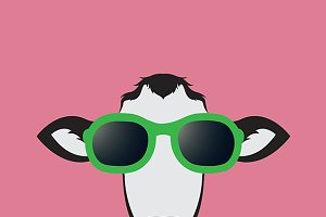 Cow wearing glasses.