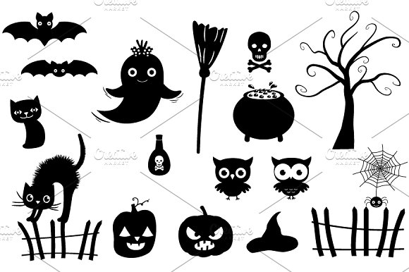 Halloween silhouettes clipart set ~ Illustrations on Creative Market