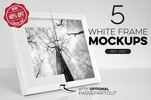Bundle of 5 White Frame Mockups