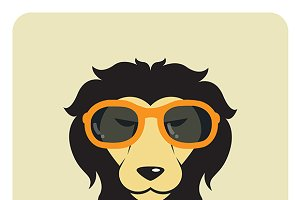Lion wearing glasses. Fashion.
