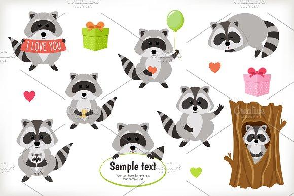 Raccoon vector set. Flat icon style. - Illustrations
