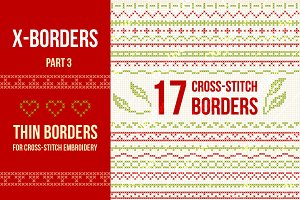 Cross-stitch borders set 3 - THIN