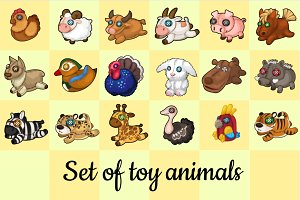 Big set of soft toy animals