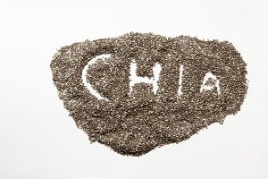 "The word ""CHIA"" written in pile of chia seeds"