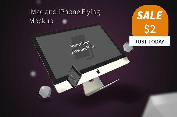 iMac and iPhone Flying Mockup