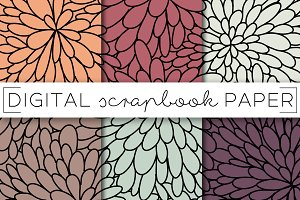 Fall Flowers Digital Paper