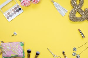 Yellow Backdrop Beauty Stock Photo