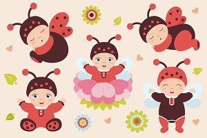 Set of babies in ladybug costume.