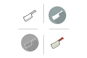 Butcher's knife. 4 icons. Vector