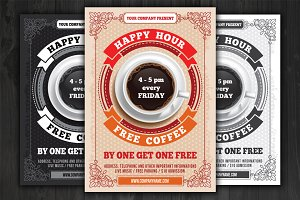 ☕︎ Happy Hour Poster Template