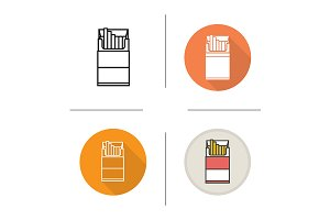 Cigarette pack. 4 icons. Vector
