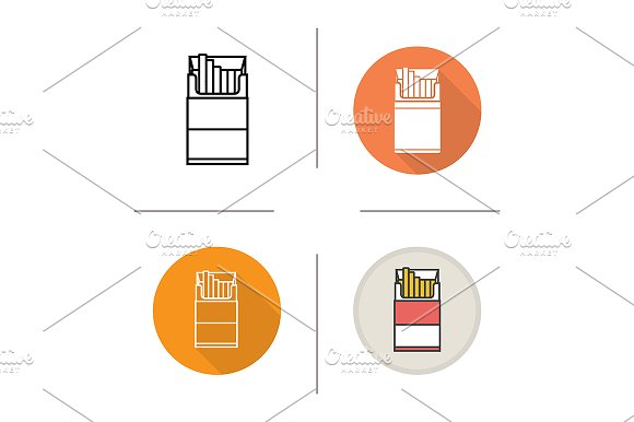 Cigarette pack. 4 icons. Vector - Icons