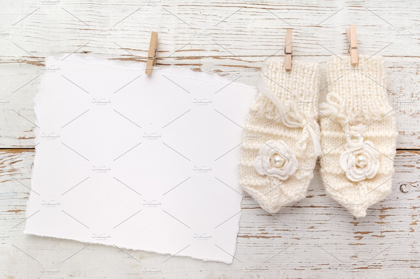 New Born Or Baptism Greeting Card Blank With Baby Girl Gloves On