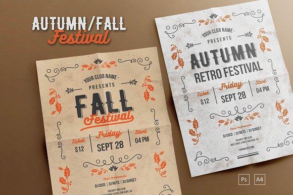 autumn fall festival flyer templates creative market