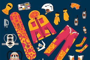 Snowboard sport clothes vector