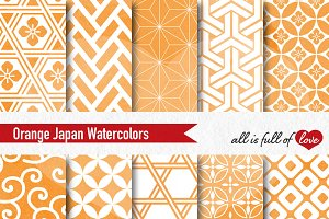 Orange Geometric Watercolor Pattern