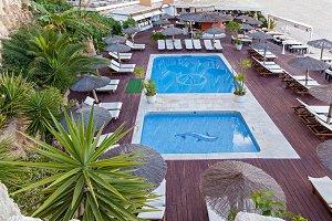 Two turquoise pools among