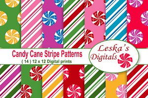 Christmas Digital Paper - Candy Cane