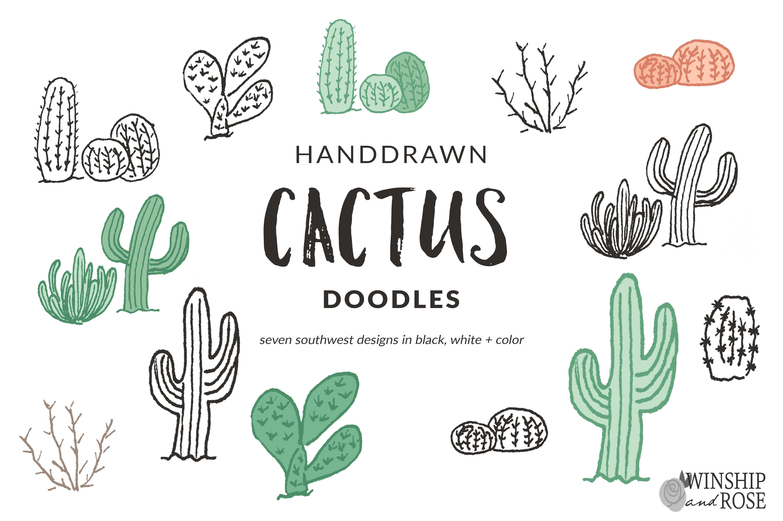 Cactus Doodle Clip Art Illustrations Creative Market