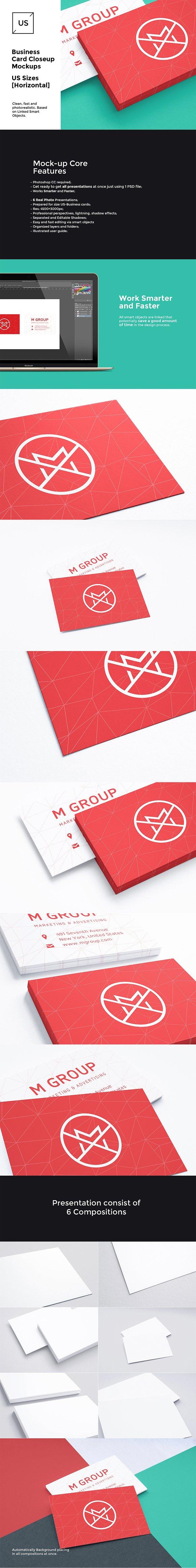 US Business Cards Mockups [close-up]