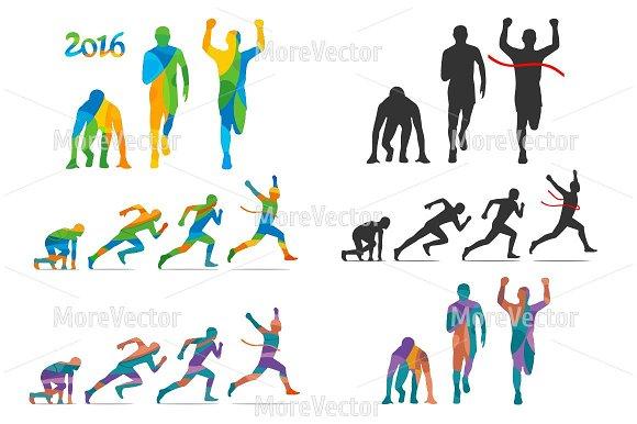 Running step. Runner start to finish - Illustrations
