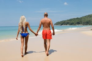 Couple on a summer tropic beach