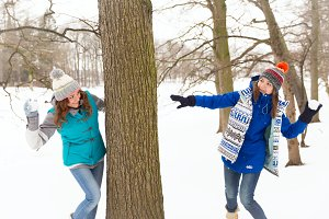 Winter women have fun outdoors