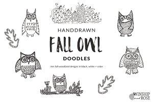 Fall Owl Doodle Clip Art
