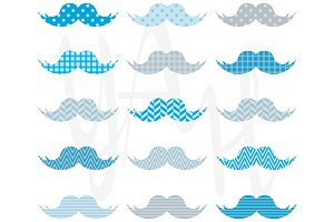 Cute Blue Mustaches Pattern