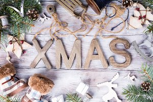 Christmas composition with letters XMAS