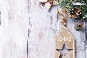 Christmas background with fir tree and decorations.