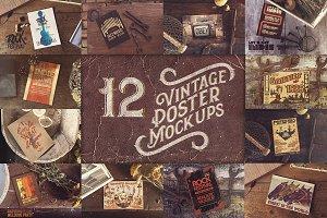 12 Vintage Poster Mockups [75% OFF]