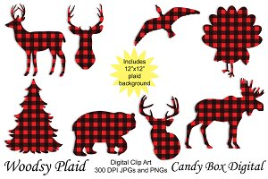 Buffalo Plaid Animal Clip Art