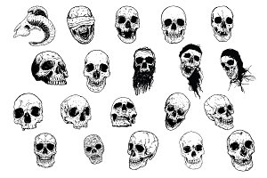 Skulls Vector Pack #3: hand-drawn