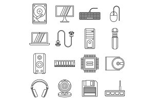 Computer icons set, outline style