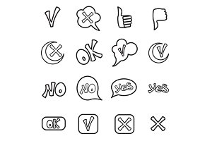 Check mark icons set, outline style