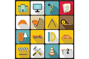 Construction icons set, flat style