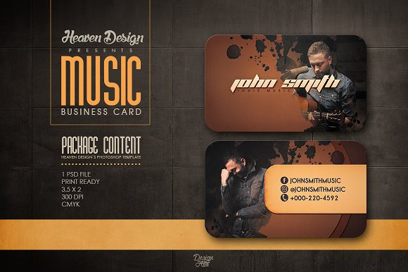 Music business card business card templates creative market colourmoves