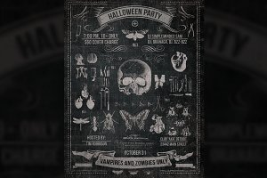 Vintage Halloween Chalk Poster