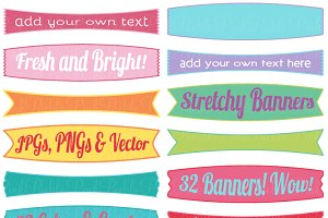 Stretchy Banners Clipart and Vectors