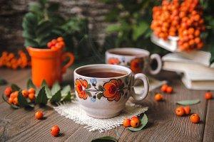 Сup Of Hot Tea With Rowan