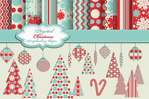 Set of Christmas pattern, clip art