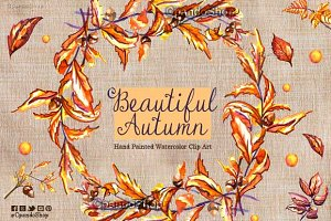 Beautiful autumn -  watercolor clip