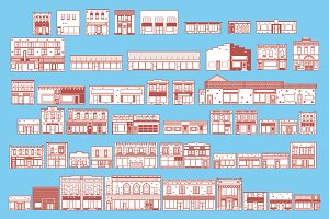 50 Main Street Vector Buildings