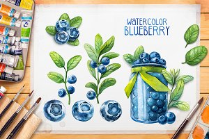 Watercolor blueberry