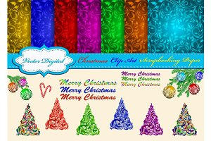 Set of Christmas pattern and Clipart