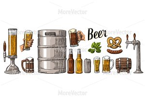 Beer set can, keg, sausage, pretzel